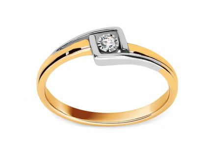 Gold Engagement Ring with Diamond Bailey