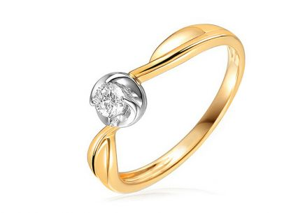 Gold Engagement Ring with Diamond Biana