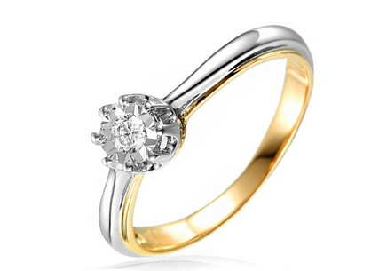 Gold Engagement Ring with Diamond Caelyn