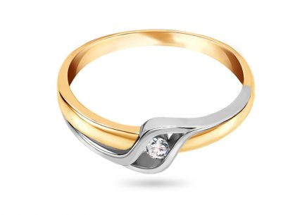 Gold engagement ring with diamond Coralia 0.040 ct