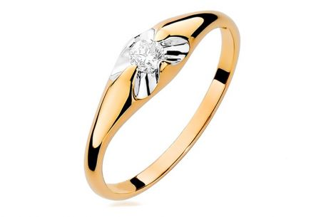 Gold Engagement Ring with Diamond Fiorenza