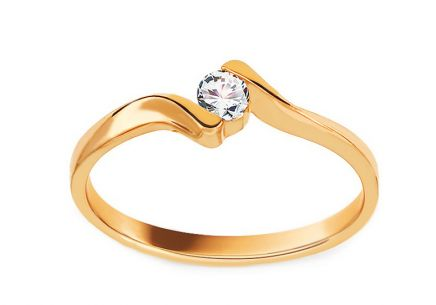 Gold Engagement Ring with Diamond Frida