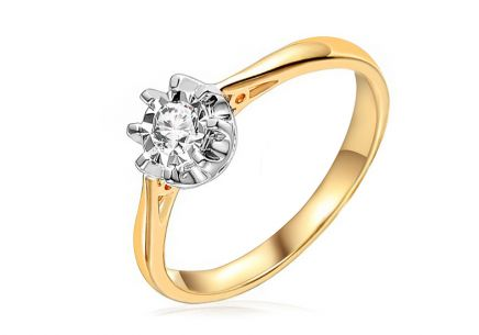 Gold Engagement Ring with Diamond Malene