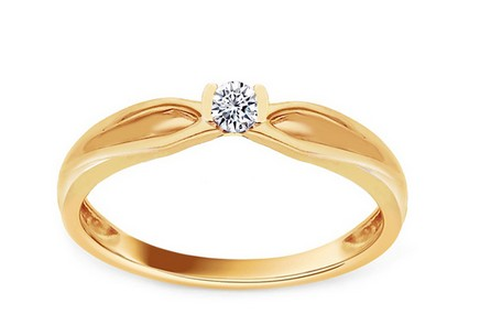 Gold Engagement Ring with Diamond Marinna