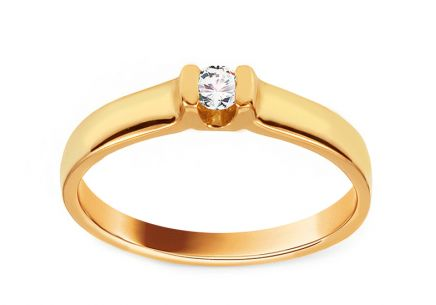 Gold Engagement Ring with Diamond Piper