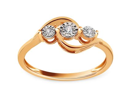 Gold Engagement Ring with Diamonds 0.030 ct Alkira