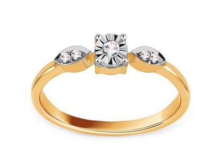 Gold Engagement Ring with Diamonds 0.030 ct Berenice