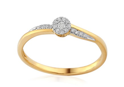 Gold Engagement Ring with Diamonds 0.090 ct Enolla