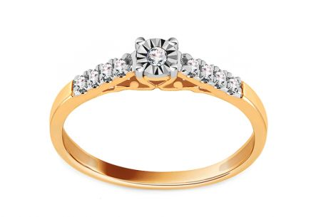 Gold Engagement Ring with Diamonds 0.090 ct Gallia