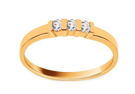 Gold Engagement Ring with Diamonds 0.090 ct Prisca