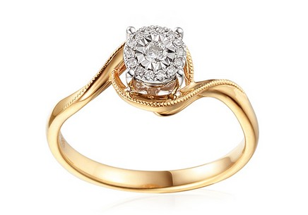 Gold Engagement Ring with Diamonds 0.090 ct Shenna