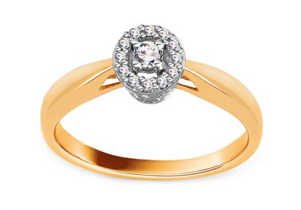 Gold Engagement Ring with Diamonds 0.100 ct Delaine
