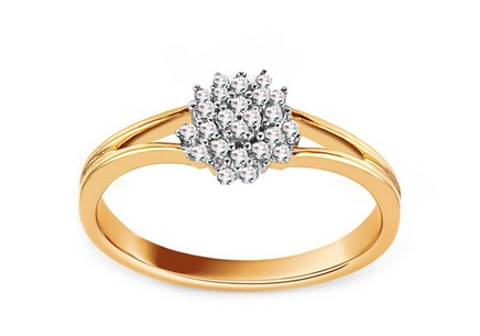 Gold Engagement Ring with Diamonds 0.100 ct Floria