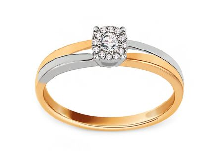 Gold Engagement Ring with Diamonds 0.100 ct Muriel 2
