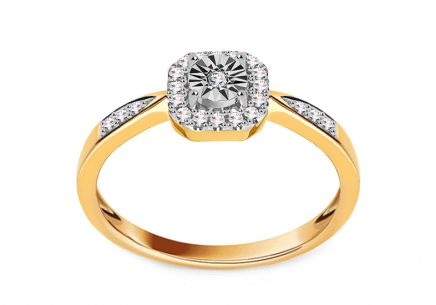Gold Engagement Ring with Diamonds 0.110 ct Valary