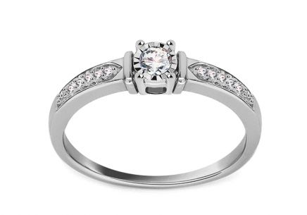 Gold Engagement Ring with Diamonds 0.120 Belkis