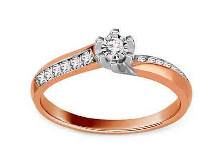 Gold Engagement Ring with Diamonds 0.120 ct Ardiente 4 Rose
