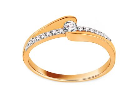 Gold Engagement Ring with Diamonds 0.130 ct Belanie