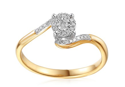 Gold Engagement Ring with Diamonds 0.130 ct Cherri