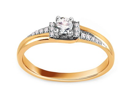 Gold Engagement Ring with Diamonds 0.130 ct Stasia