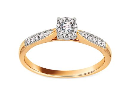 Gold Engagement Ring with Diamonds 0.150 ct Nastia