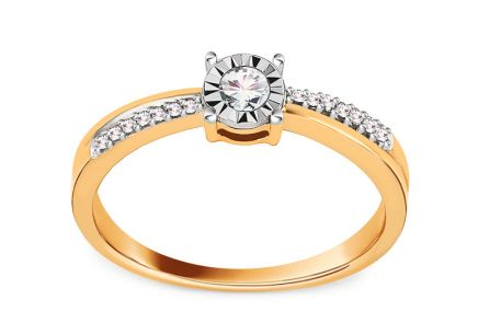 Gold Engagement Ring with Diamonds 0.150 ct Nicky
