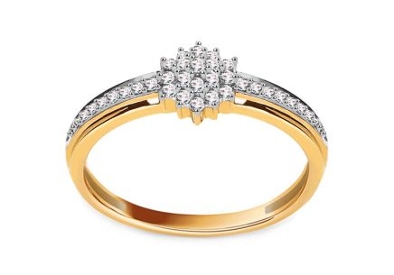 Gold Engagement Ring with Diamonds 0.160 ct Becca