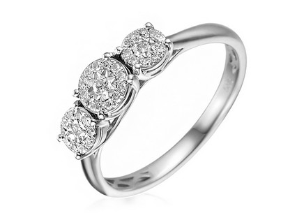 Gold Engagement Ring with Diamonds 0.170 ct Roberta white