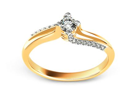 Gold Engagement Ring with Diamonds 0.220 ct Promise 9
