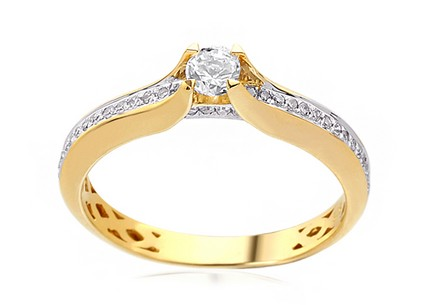 Gold Engagement Ring with Diamonds 0.240 ct Jeane