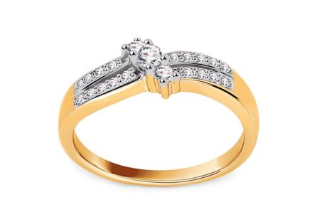 Gold Engagement Ring with Diamonds 0.250 ct Zurine