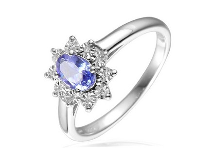 Gold Engagement Ring with Diamonds and Tanzanite Lilwenn