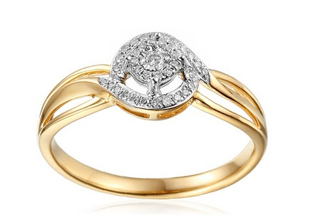 Gold Engagement Ring with Diamonds Clara