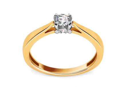 Gold Engagement Ring with Diamonds Dona