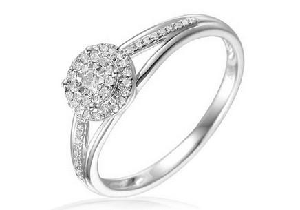 Gold Engagement Ring with Diamonds Gaia white