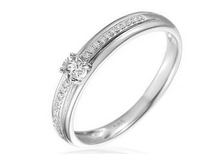 Gold Engagement Ring with Diamonds Harper white
