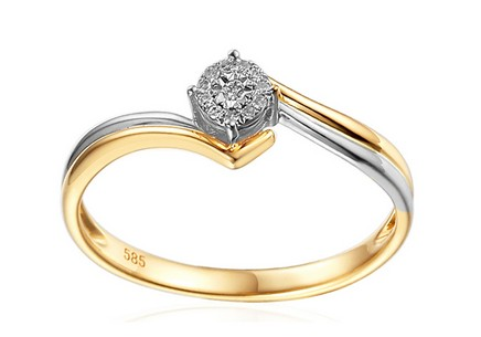 Gold Engagement Ring with Diamonds Hollis