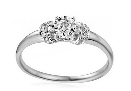 Gold Engagement Ring with Diamonds Imane white