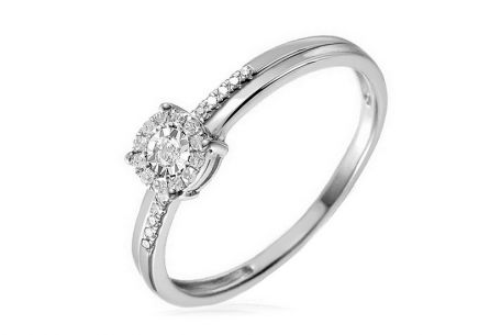 Gold Engagement Ring with Diamonds Loralei white