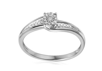 Gold engagement ring with diamonds Lotte white 0.060 ct