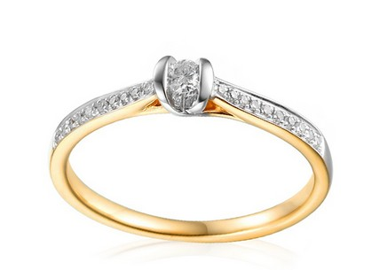 Gold Engagement Ring with Diamonds Sienna