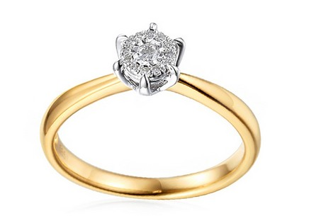 Gold Engagement Ring with Diamonds Yalena