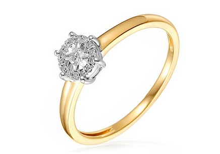 Gold Engagement Ring with Diamonds Zoey