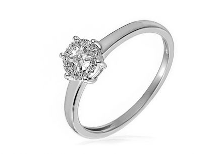Gold Engagement Ring with Diamonds Zoey white