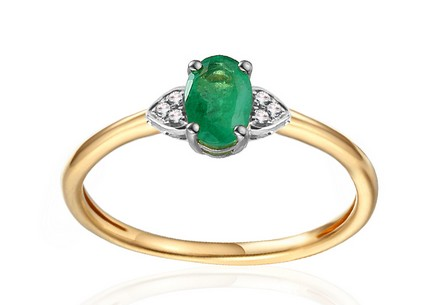 Gold Engagement Ring with Emerald and Diamonds 0.020 ct Chattie 2