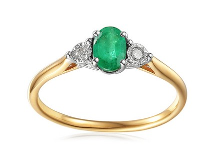 Gold Engagement Ring with Emerald and Diamonds 0.080 ct Stenya 2
