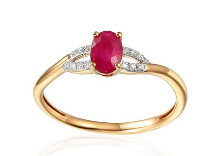 Gold Engagement Ring with Ruby and Diamonds 0.030 ct Kassia 3