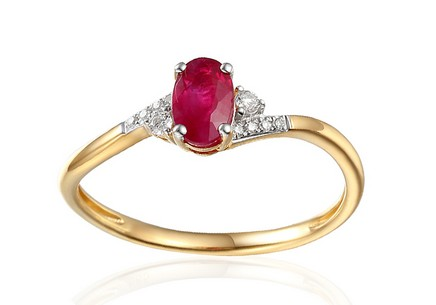 Gold Engagement Ring with Ruby and Diamonds 0.050 ct Melinda 3
