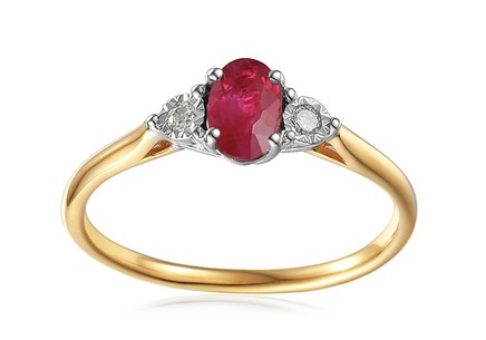 Gold Engagement Ring with Ruby and Diamonds 0.080 ct Stenya 3