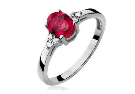 Gold Engagement Ring with Ruby and Diamonds Morgana white